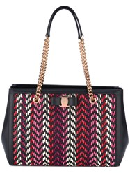 Salvatore Ferragamo Zigzag Vara Bow Tote Bag Women Leather One Size Black