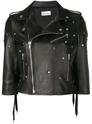 Red Valentino Embellished Biker Jacket Black