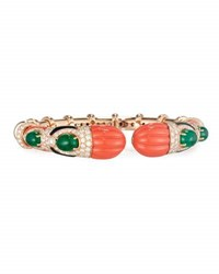G. Verdi And C. Carved Coral Onyx Emerald Bracelet With Diamonds