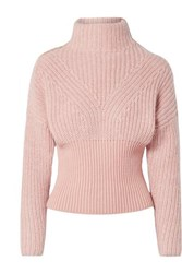 Iro Medford Ribbed Cotton Blend Turtleneck Sweater Blush