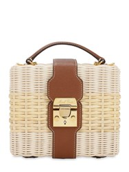Mark Cross Harley Leather And Rattan Bag Bleached