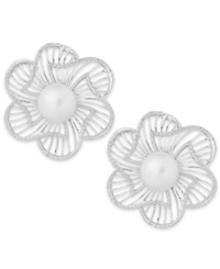 Macy's Cultured Freshwater Pearl 7Mm And Cubic Zirconia Flower Stud Earrings In Sterling Silver