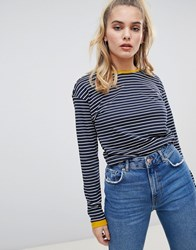 Noisy May Stripe Sweatshirt With Contrast Ringer Wht Nvy W Nugget Gld Navy