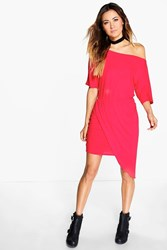 Boohoo Off Shoulder Rouched Wrap Dress Poppy