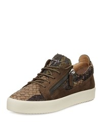 Giuseppe Zanotti Men's Camo Woven Leather And Suede Low Top Sneaker Olive