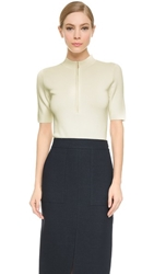 Jason Wu Short Sleeve Zip Front Scuba Top Chalk