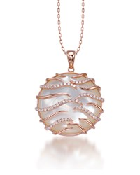 Luna Small 18K Pink Gold Mother Of Pearl Pendant Necklace Frederic Sage Green