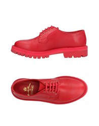 Leather Crown Lace Up Shoes Red