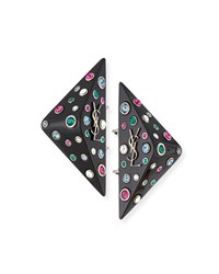 Saint Laurent Eighties Triangle Clip On Earrings Green Multi