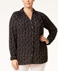 Charter Club Plus Size Circle Print Blouse Only At Macy's Deep Black Combo