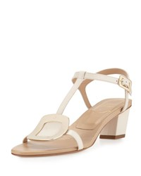 Roger Vivier Chips Leather T Strap Sandal Off White