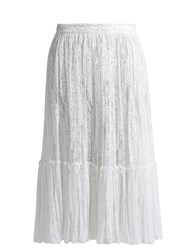Valentino Floral Embroidered Tulle Midi Skirt White
