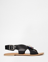Faith Just Black Leather Embellished Flat Sandals