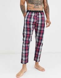 Only And Sons Woven Lounge Pant In Red Check Multi