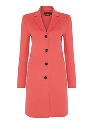 Max Mara Alpaca Bright Long Button Up Wool Coat Salmon