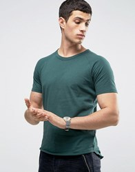 Selected Homme Raglan T Shirt With Curved Hem Green