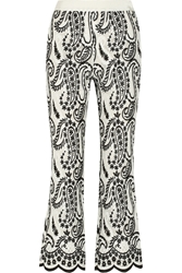 Giambattista Valli Paisley Embroidered Organza Wide Leg Pants White