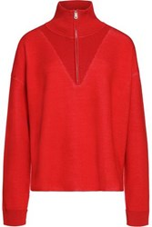 Sandro Ribbed Knit Trimmed Stretch Knit Sweater Red