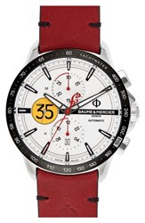 Baume And Mercier Clifton Limited Edition Automatic Leather Strap Watch 44Mm White Red