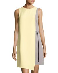 Tahari By Arthur S. Levine Colorblock Sleeveless Crepe Dress Yellow Gray