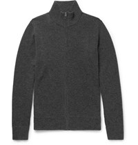 Rag And Bone Nathan Wool Cashmere Blend Zip Up Cardigan Charcoal