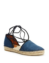 Frye Leo Two Piece Leather Espadrille Sandals Blue
