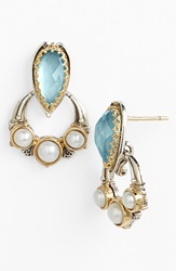 Konstantino 'Amphitrite' Pearl And Semiprecious Stone Drop Earrings Swiss Blue Topaz Pearl