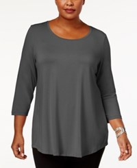 Jm Collection Plus Size Scoopneck Top Created For Macy's Dark Granite
