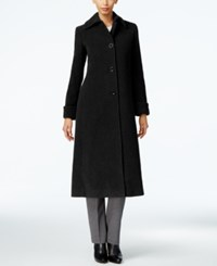 Jones New York Wool Blend Maxi Coat Black