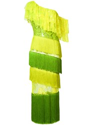 Daizy Shely Tiered Fringed Lace Dress Yellow And Orange