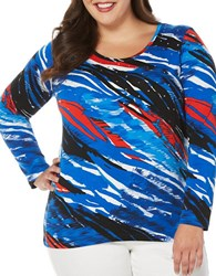 Rafaella Plus Long Sleeve Swirled Zebra Print Crewneck Tee Blue Multi
