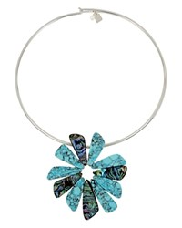 Robert Lee Morris Soho Turquoise Flower Round Necklace 16 Turquoise Silver