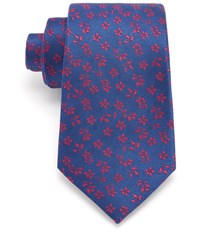 Austin Reed Navy Twill And Pink Floral 8Cm Silk Tie