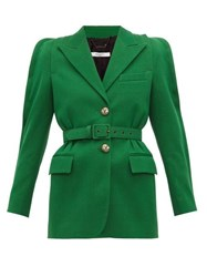 Givenchy Belted Technical Wool Blazer Green