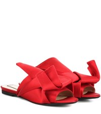 N 21 Satin Slip On Sandals Red