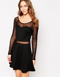 Wal G Skater Dress With Mesh Inserts Black