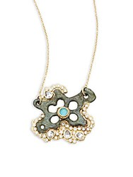 Armenta Sueno White Diamond Turquoise Sapphire White Sapphire And 18K Goldplated Star Pendant Necklace