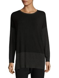 Eileen Fisher Colorblock Tunic Charcoal Black