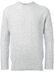 N.Peal 'The Thames' Cable Knit Jumper Grey