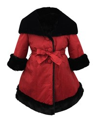 Helena Faux Fur Reversible Hooded Coat Red