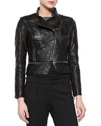 Escada Climbing Flower Cropped Leather Jacket Black