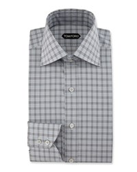 Tom Ford Slim Fit Glen Plaid Dress Shirt Black