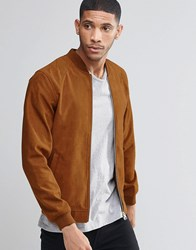 Pull And Bear Faux Suede Bomber Jacket In Tan Tan