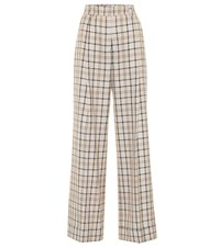 See By Chloe Checked High Rise Straight Pants Beige