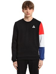 Le Coq Sportif Tricolor Sleeve Cotton Blend Sweatshirt