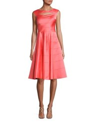 Kay Unger Paneled A Line Dress Coral