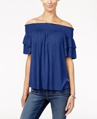 Inc International Concepts Ruffle Sleeve Off The Shoulder Top Only At Macy's Goddess Blue