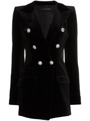Alexandre Vauthier Crystal Button Double Breasted Cotton Jacket Black