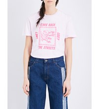 Obey Take Back The Streets Cotton Jersey T Shirt Pink