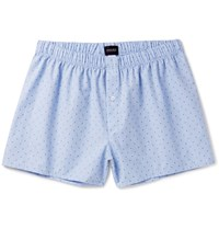 Hanro Checked Cotton Jacquard Boxer Shorts Blue